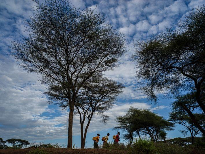 Logo cedo pela manhã, ao lado do rio Pequeno Keske, mulheres carregam água na região de ...