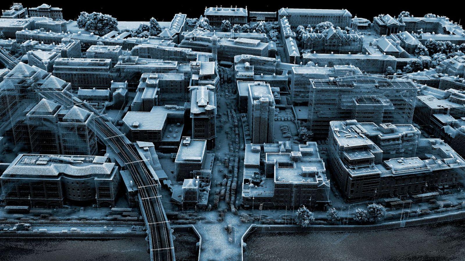 Imagem do lidar de Dublin, na Irlanda. Esta tecnologia captura a topografia de uma distância muito ...