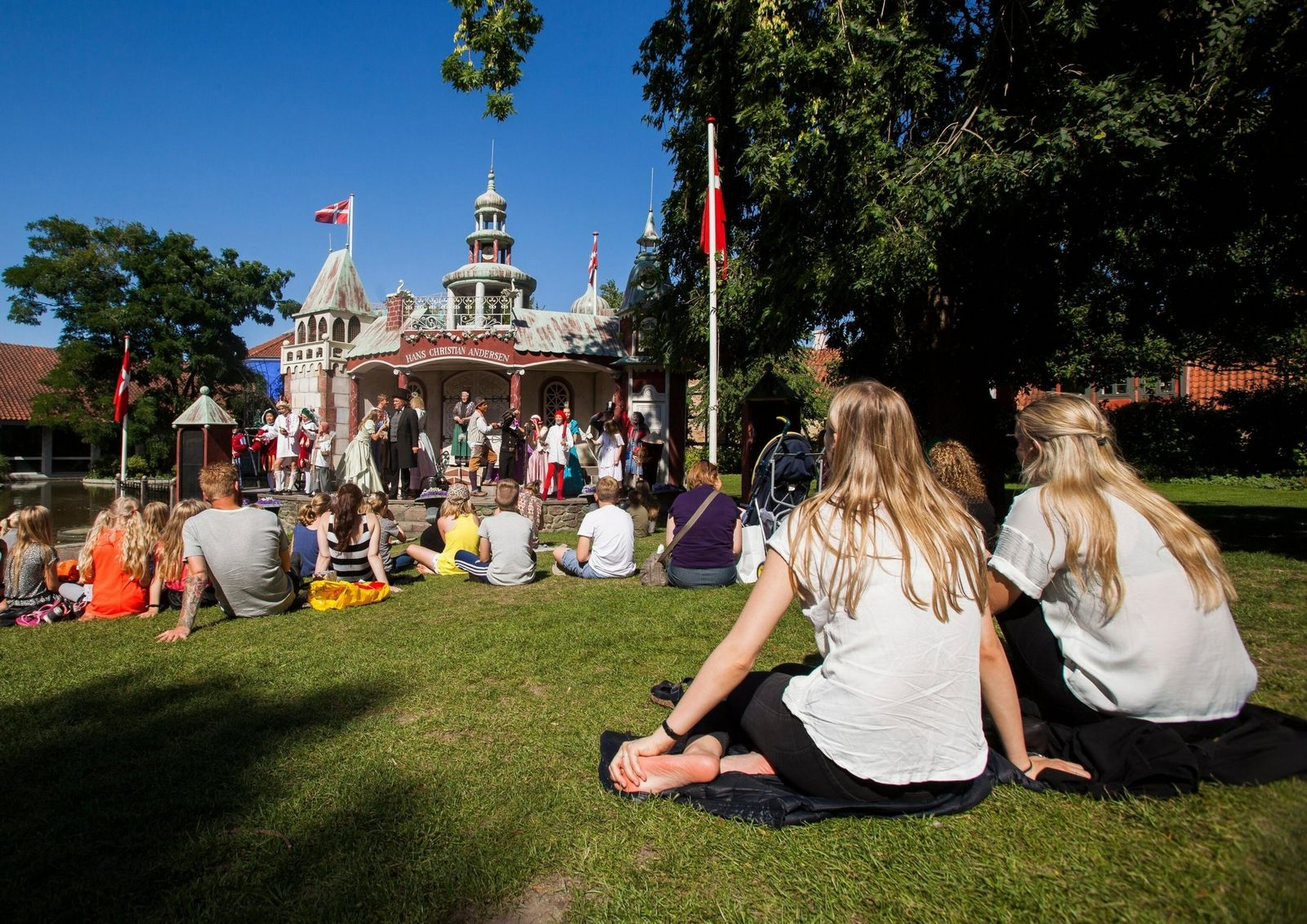 Odense, Denmark -19 Aug 2015- Open air theatre in the park Munkemose at the Hans Christian ...