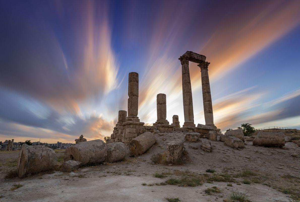 Templo de Hércules em Jordânia, ao pôr do sol