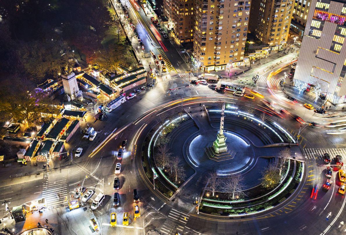 Columbus Circle em Nova York à noite