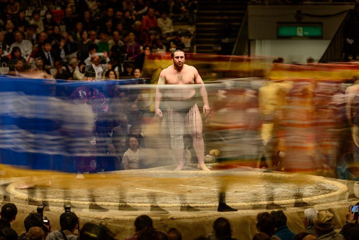 Lutador de sumô em ringue
