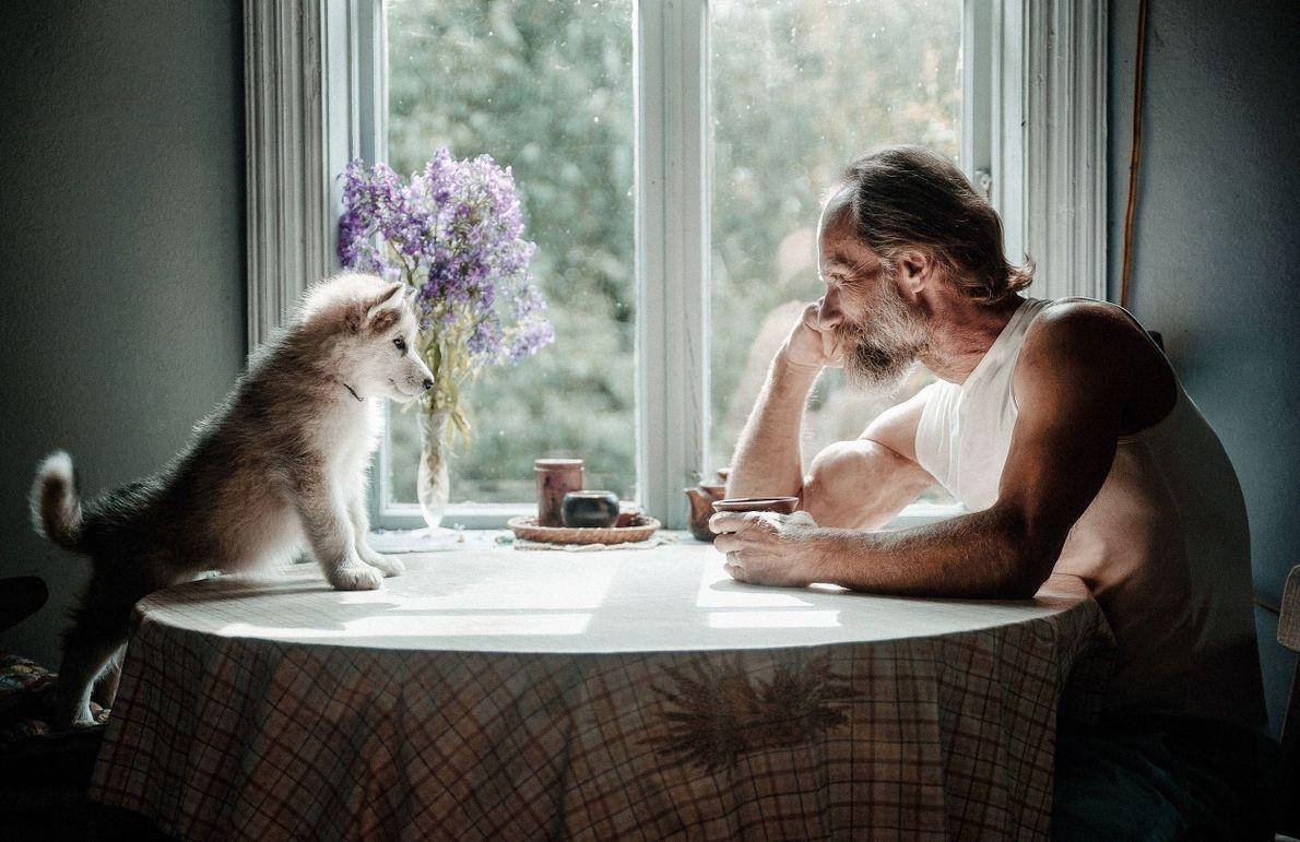 Homem e cachorro sentado em mesa olhando um para o outro