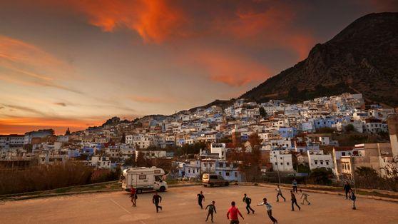 Cidade no Marrocos ao pôr do sol