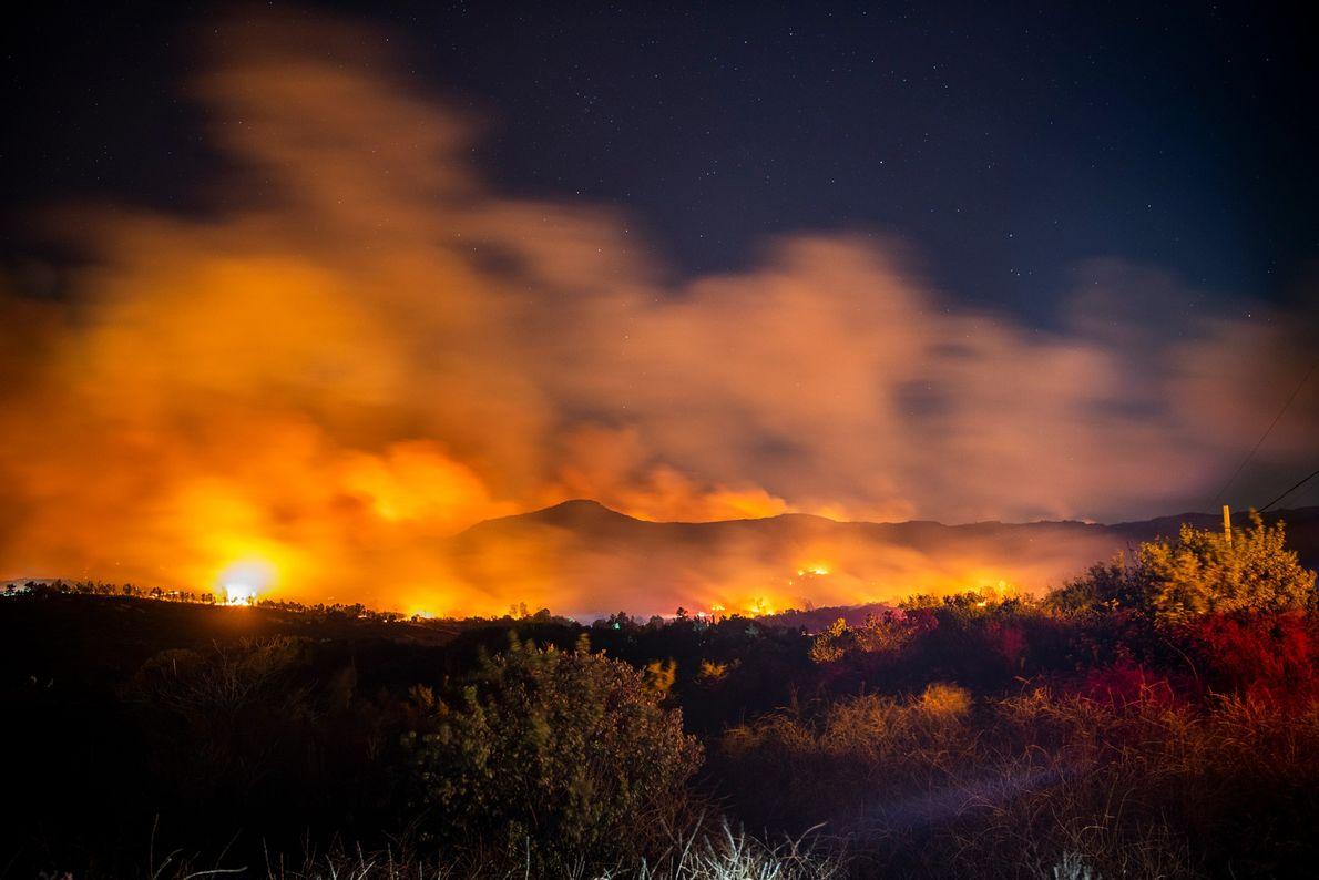 Centenas de quilômetros ao sul, na Floresta Nacional de San Bernardino, o incêndio El Doradoiluminou os ...