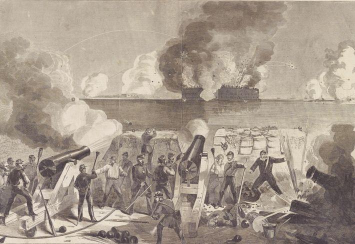 Depois que separatistas do sul dispararam contra um navio que entregava suprimentos no Forte Sumter, na ...