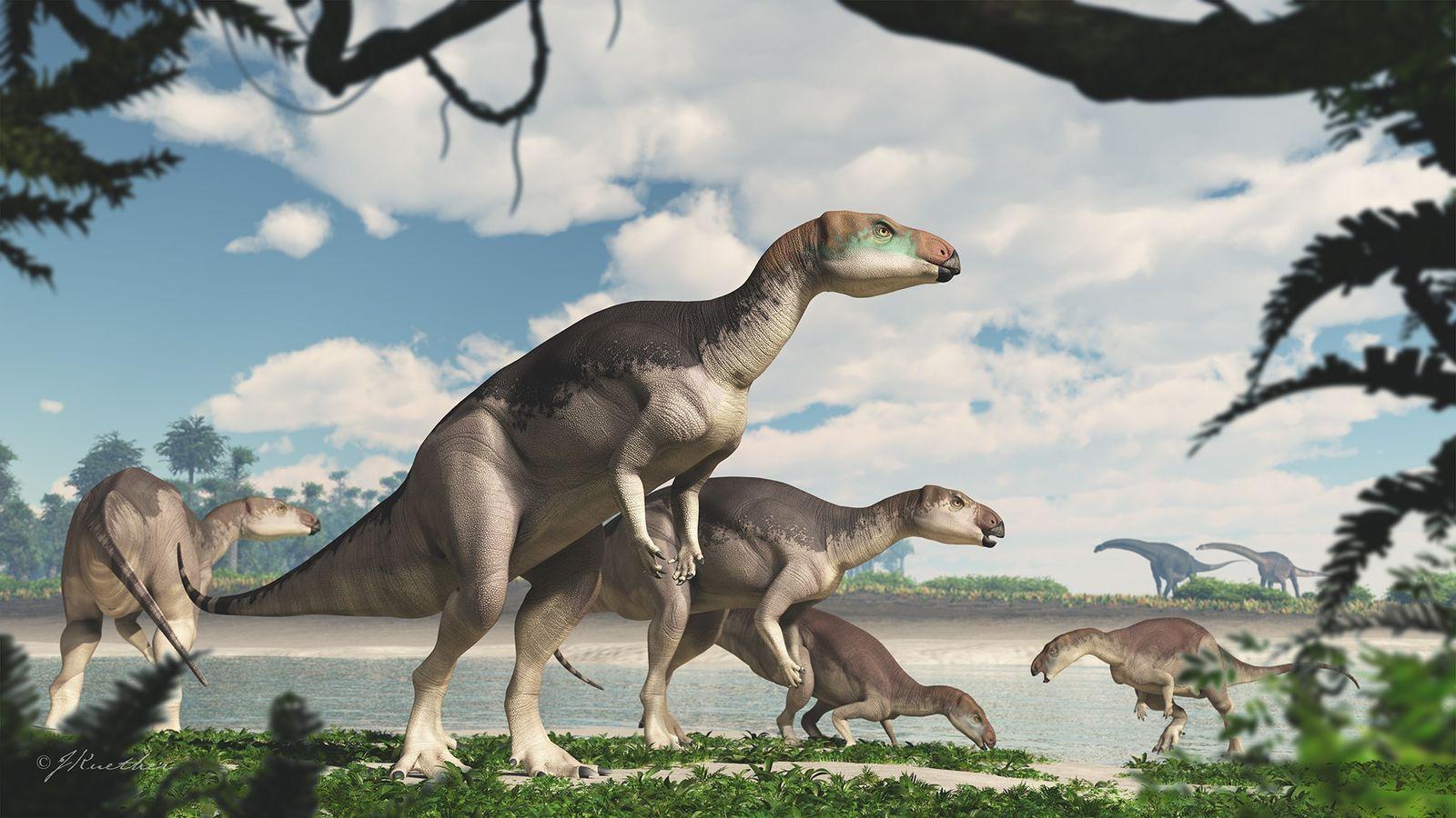 Ilustração mostra uma manada de dinossauros Fostoria caminhando na orla de um lago onde hoje fica ...