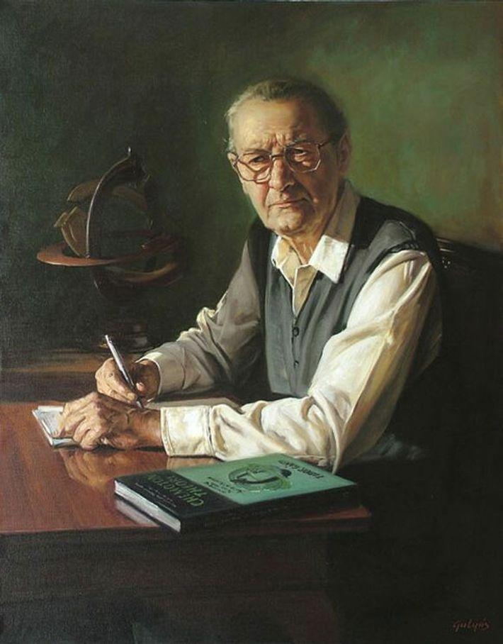 Pintura em óleo do biólogo húngaro Tibor Gánti.