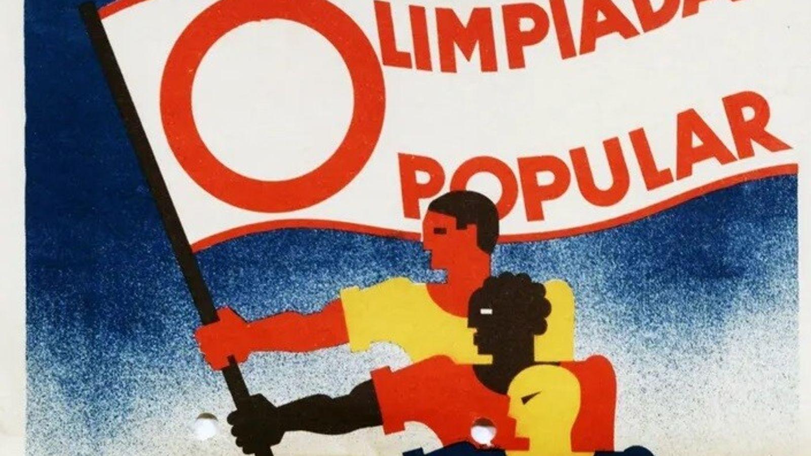 Representações de atletas de diferentes etnias segurando uma bandeira das Olimpíadas Populares, que aconteceriam em Barcelona, ...