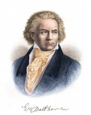 Esta gravura do compositor teuto-austríaco Ludwig van Beethoven data de 1882. Sua Nona Sinfonia foi executada ...