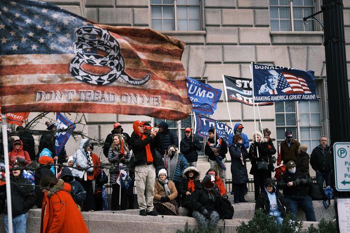 Uma bandeira de Gadsen modificada é ostentada por manifestantes no Capitólio.