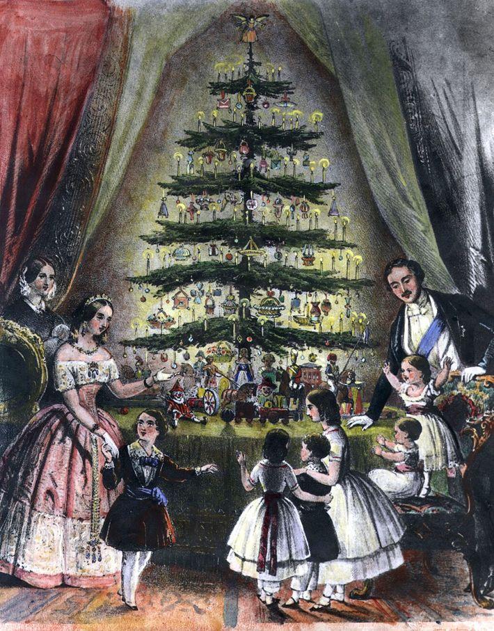 Em dezembro de 1848, uma ilustração mostrava a Rainha Vitória, o Príncipe Alberto e seus filhos ...