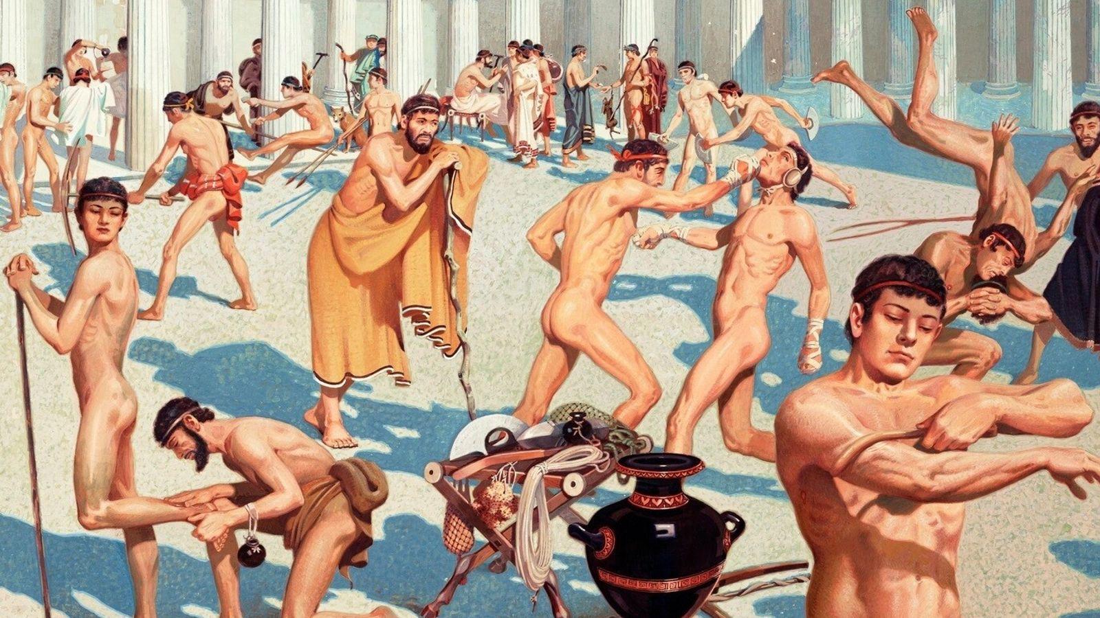 Atletas da Grécia Antiga normalmente praticavam suas habilidades de ginástica todos nus. Esses primeiros ginastas treinavam ...