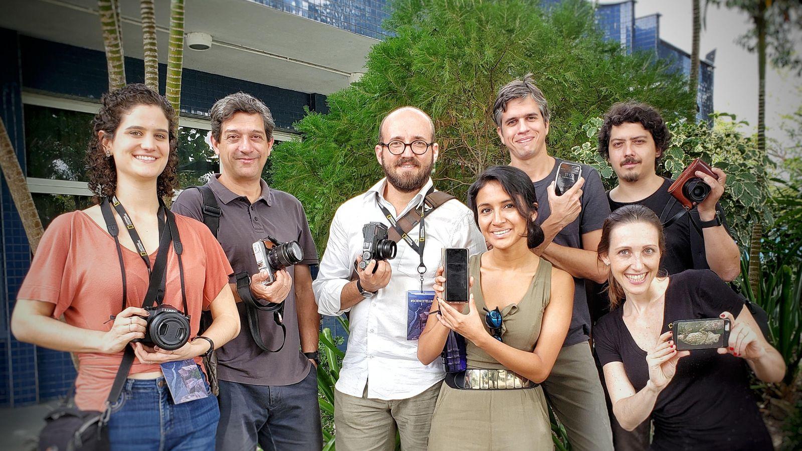 Origens diferentes, mesma missão: (da esquerda) Clara Fortes e Eduardo Góes Neves (Brasil), Juan Arias (Colômbia), ...