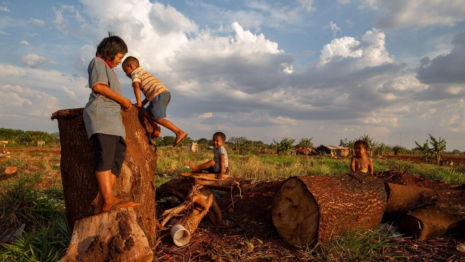Três irmãos kaiowás e um vizinho brincam em Ñu Vera, próximo a Dourados (MS). O irmão ...