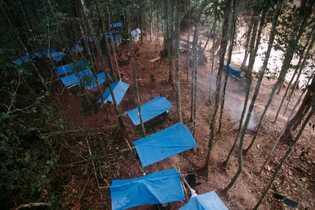 Fazer trilhas pela mata é cansativo. Durante a expedição da Funai em 2002 na Terra Indígena ...