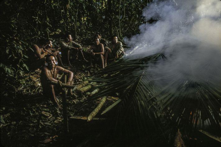 Membros da expedição de 2002 de Sydney Possuelo, que contou com 20 patrulheiros indígenas, defumam carne ...