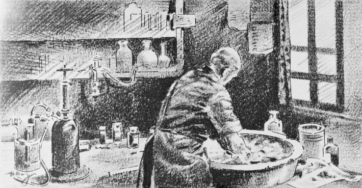 Em um esboço, Semmelweis lava as mãos com solução de hipoclorito de cálcio. Embora seu trabalho ...