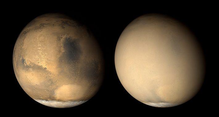 Duas imagens de Marte captadas com um mês de intervalo em 2001 pela sonda espacial Mars ...