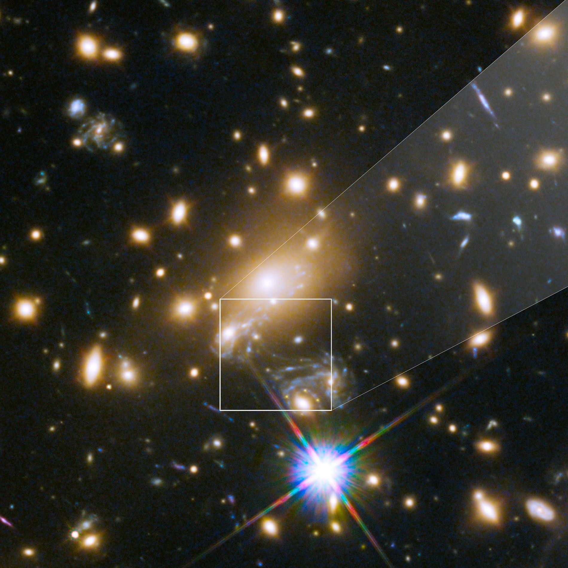 Icarus, cujo nome oficial é MACS J1149+2223 Lensed Star 1, é a estrela mais distante já ...