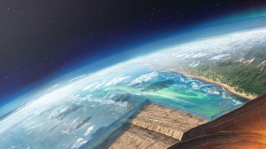 Uma placa oceânica mergulha para baixo de outra, na ilustração de uma zona de subducção. Estudos ...