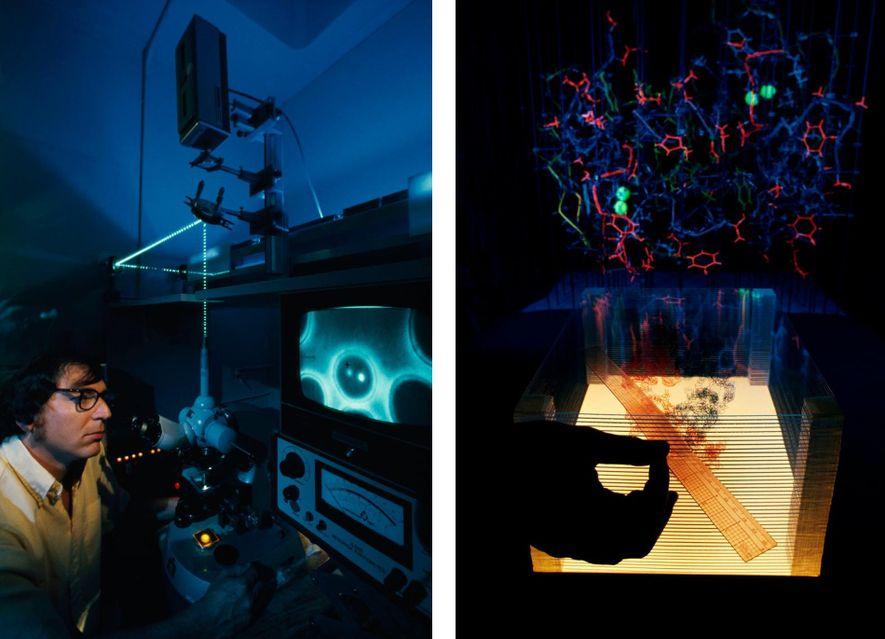 """Fotos do filme de 1976 """"Os Mundos Incríveis em uma Célula"""" mostram um cientista cortando um cromossomo com um laser (à esquerda) e outro trabalhando com raios X de anticorpos."""