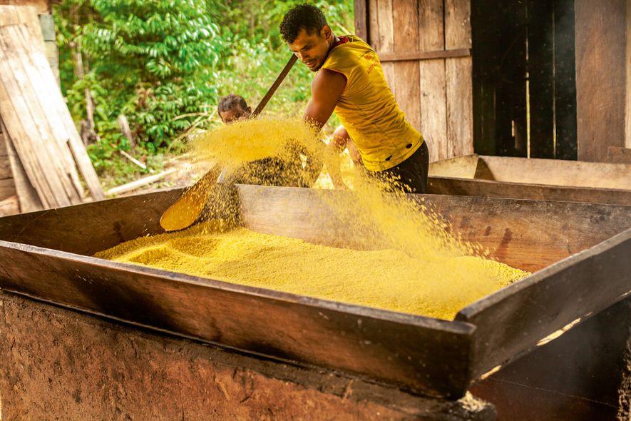 A farinha de mandioca, que homens e mulheres produzem nas comunidades, é acompanhamento da caça que ...