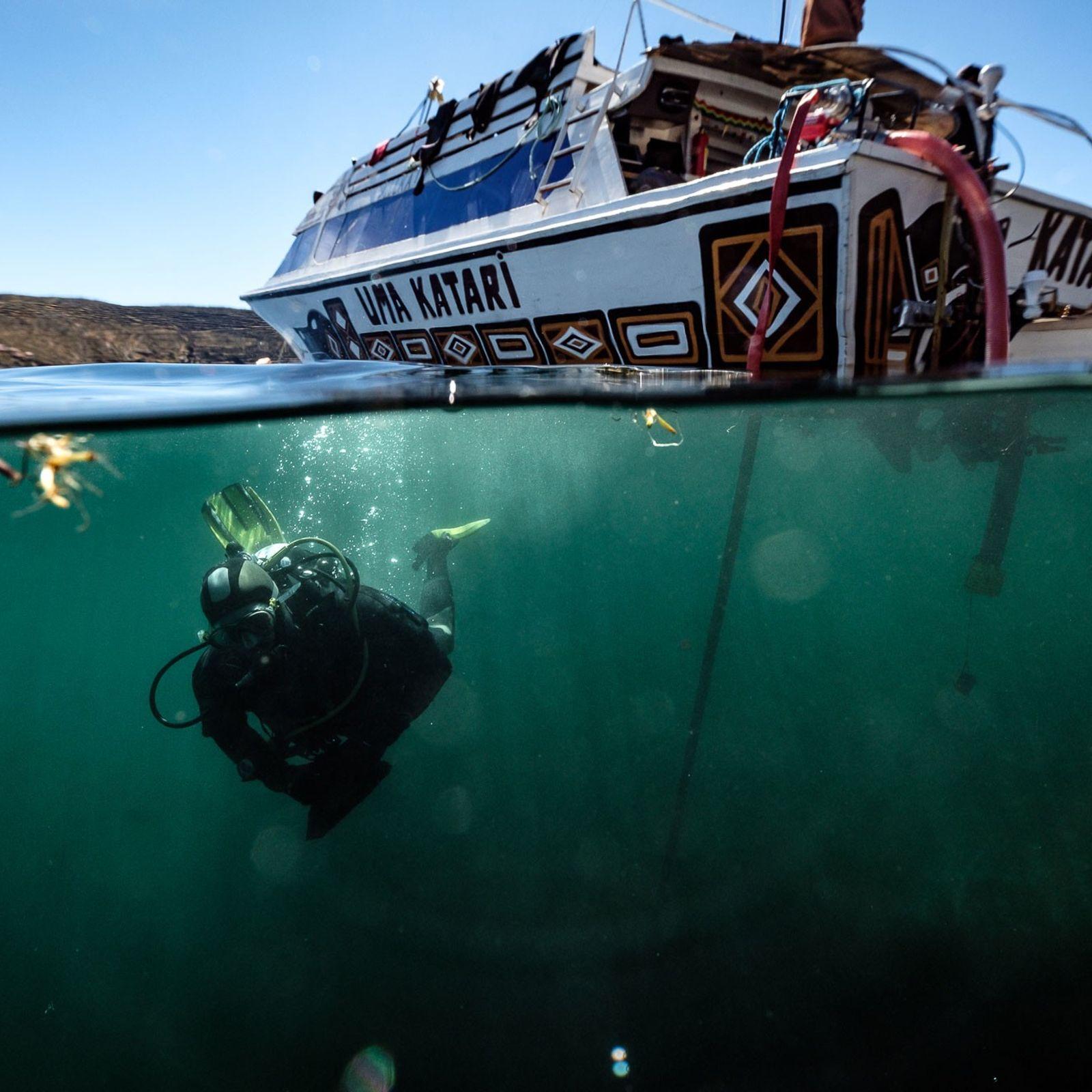 Membro da equipe de pesquisa mergulha no Lago Titicaca, que corta a fronteira entre a Bolívia ...