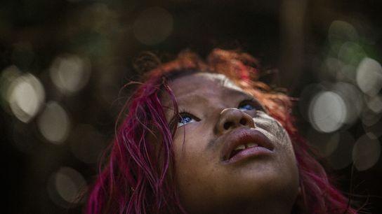 Crianças do povo guarani mbya, como Manuela Vidal, aprendem sobre a língua e a cultura em ...