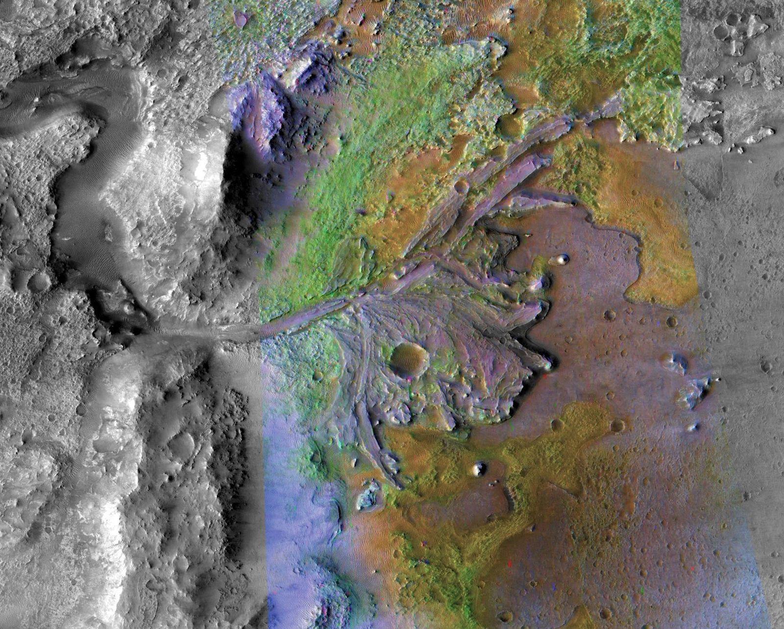 A sonda Perseverance pousará na cratera Jezero, retratada aqui nesta imagem feita pela Sonda Orbital de Reconhecimento ...