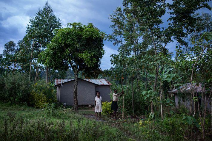 Duas meninas em frente a uma casa no condado de Kakamega, no Quênia. As crianças correm ...