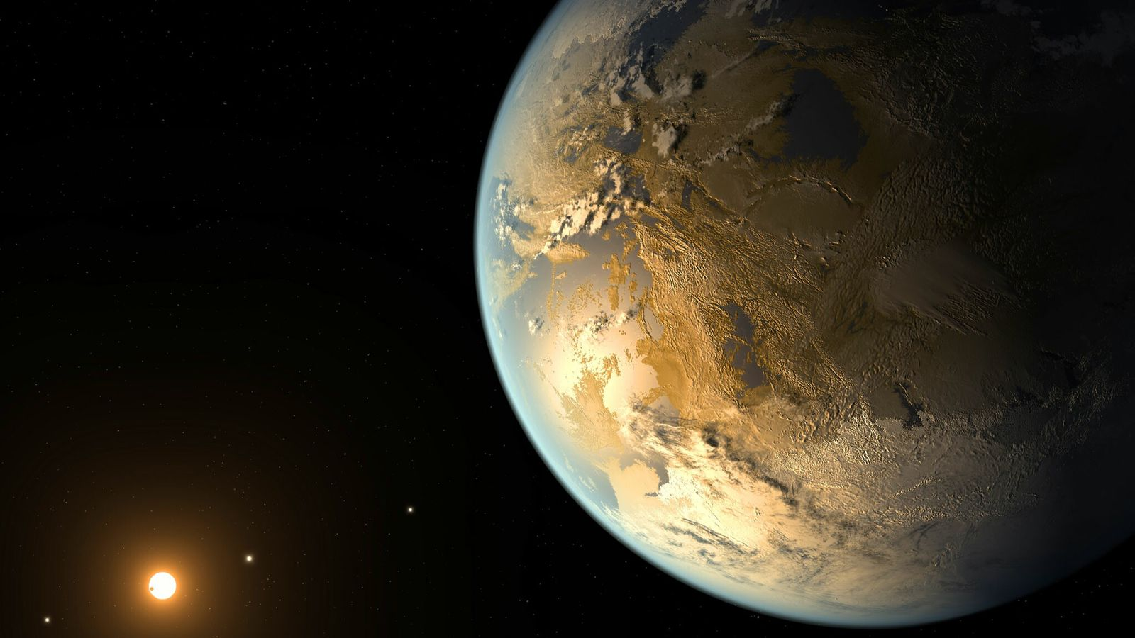 A arte conceitual retrata Kepler-186f, o primeiro planeta comprovadamente do tamanho da Terra a orbitar uma ...