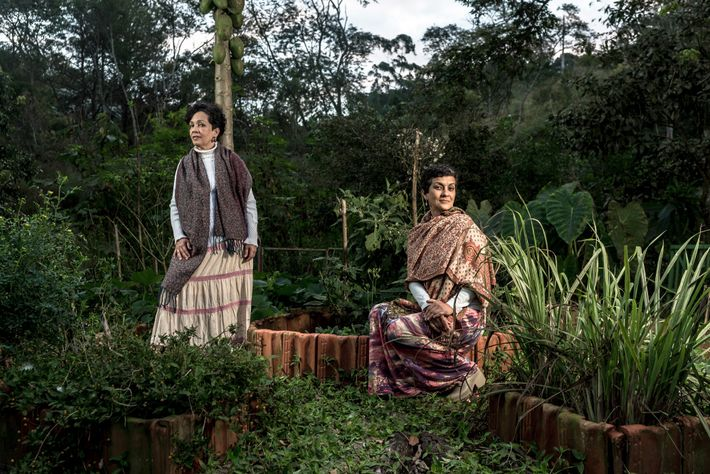 No Sítio Essencial, em Mogi das Cruzes (SP), a terapeuta Cátia Oliveira, à esquerda, e a ...