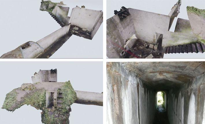 Ao unir fotos em um modelo 3D, os arqueólogos visualizaram um túnel que ligava o terreno ...