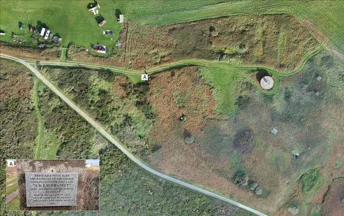 A imagem do campo de Sylt, obtida por aerofotogrametria em 2017, revela como restam poucas ruínas ...