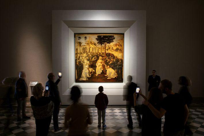 Após cinco anos em restauração, A Adoração dos Magos de Leonardo revela pinceladas, cores e imagens ...