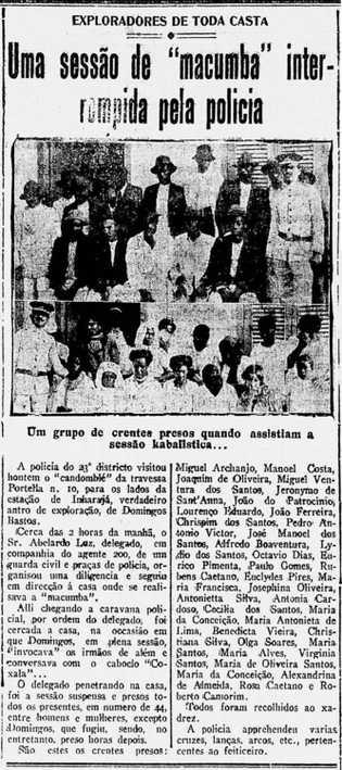 Recorte do jornal carioca Gazeta de Notícias, de 29 de julho de 1916, reporta uma batida ...