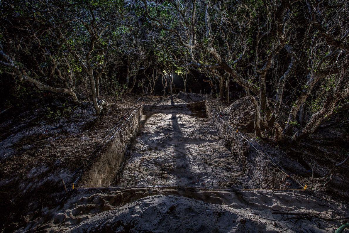 Escavações no antigo local de uma cidade indígena americana, na Ilha Hatteras, rendeu uma mistura de ...