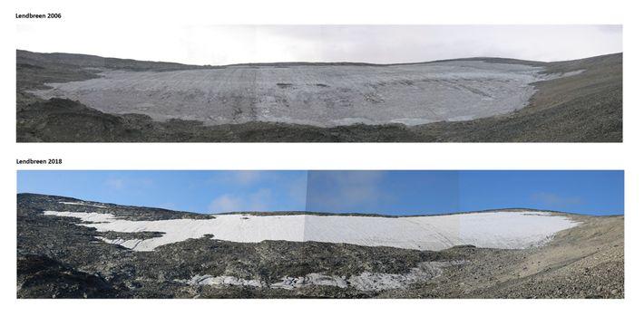 A camada de gelo de Lendbreen está derretendo rapidamente, como mostra as fotos tiradas em 2006 ...