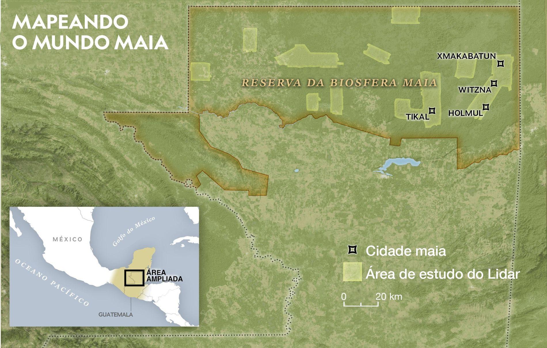 Pesquisadores com LiDAR aéreo mapearam 10 partes da Reserva da Biosfera Maia na Guatemala. As descobertas ...