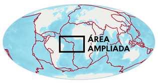 As linhas vermelhas representam os limites entre placas tectônicas.