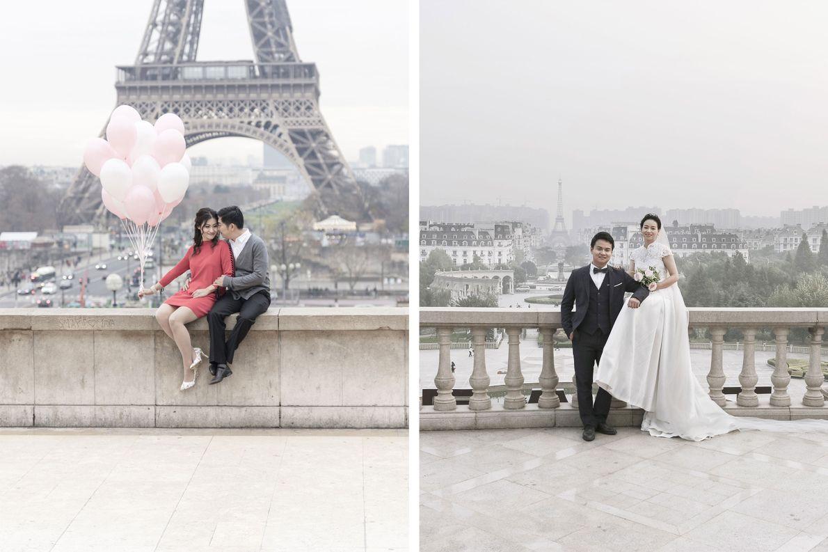 casal-posa-para-fotos-em-paris-franca-tianducheng-china