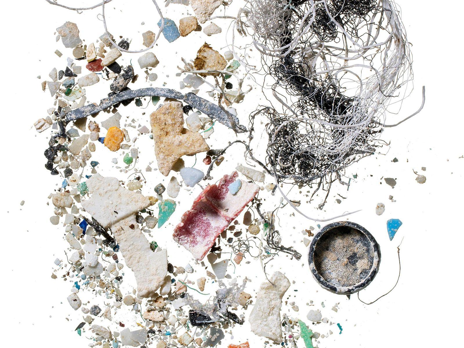 Partículas plásticas em amostras coletadas no Havaí.