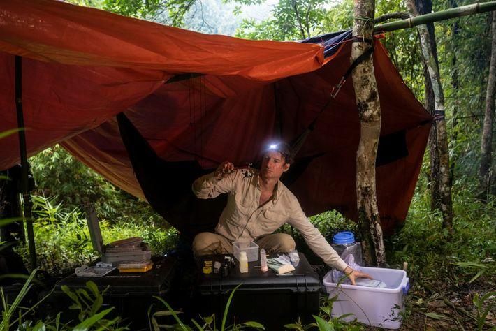 retrato do pesquisador Zoltan Takacs no Parque Nacional Chu Yang Sin, no Vietnã.