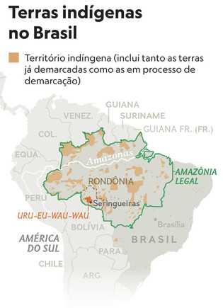 Mapa de Matthew W. Chwastyk e Christine Fellenz, NG Staff.Fonte: IBGE; Projeto de Monitoramento da Amazônia ...