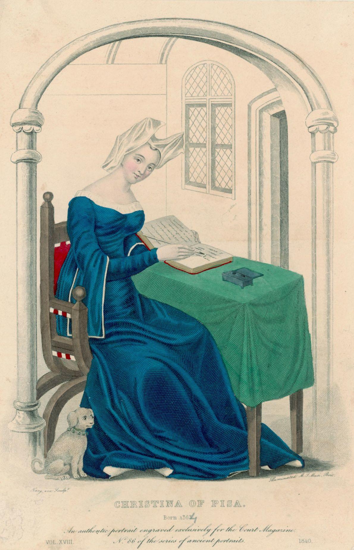 A escritora: Christine de Pizan  Viúva em 1379, com três filhos e uma mãe para cuidar, Christine ...