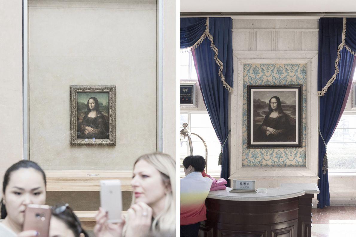 Réplicas da icônica Mona Lisa, protegida no Louvre de Paris (à esquerda), podem ser encontradas em …