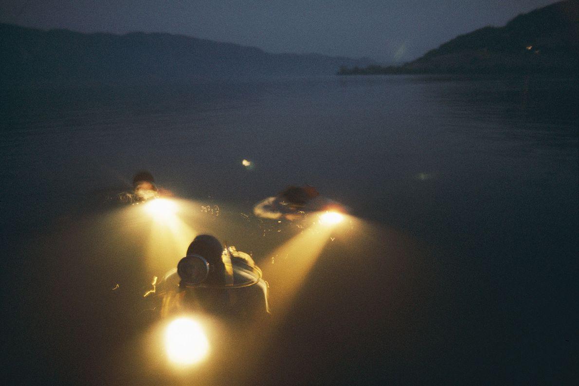 Mergulhadores movimentam uma isca de sangue de vaca pelo Lago Ness, na Escócia, tentando atrair o ...