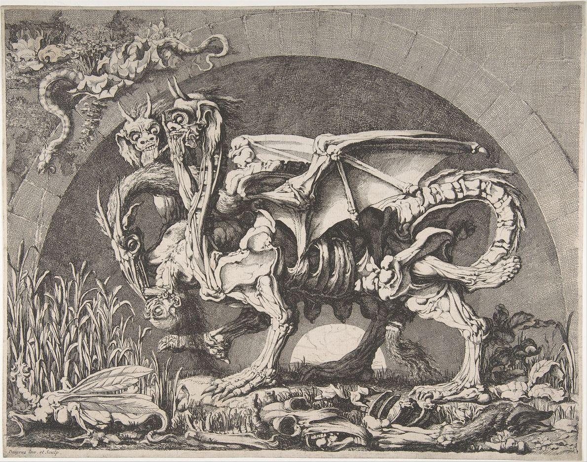 Em Ilíada, Homero descreve a quimera como um monstro que cospe fogo, com cabeça de leão, ...