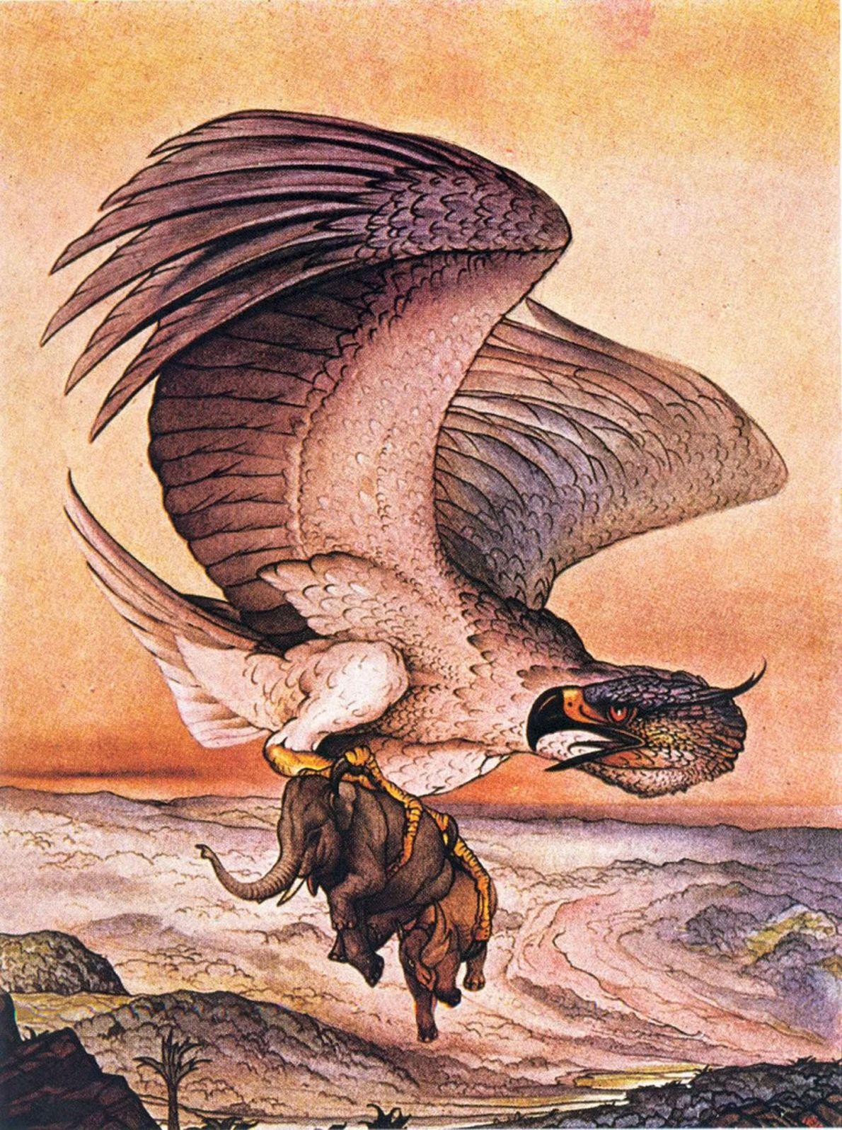 Na lenda árabe de Simbad, o Marujo, um pássaro chamado Roc levanta um elefante do chão ...